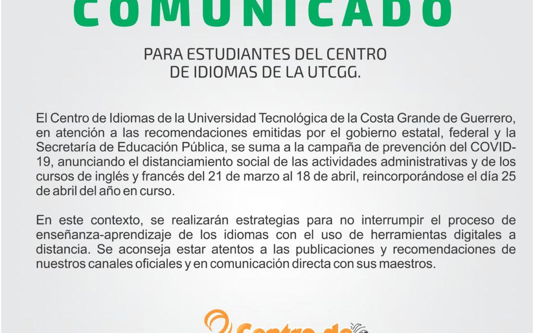 Comunicado para estudiantes del Centro de Idiomas