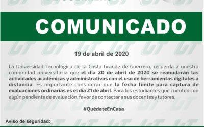Comunicado / 19 de abril de 2020