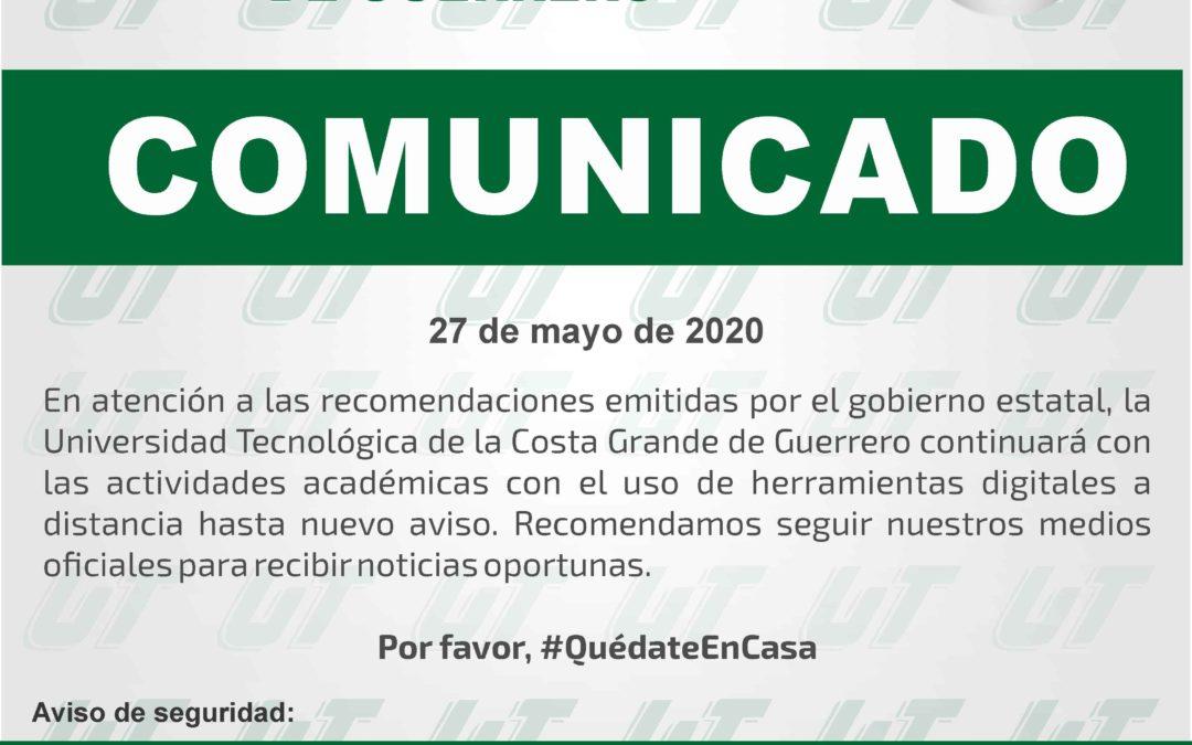 Comunicado – 27 de mayo de 2020