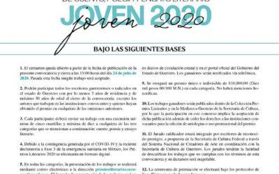 IX Premio Estatal Joven 2020 de Cuento, Poesía y Ensayo Literario