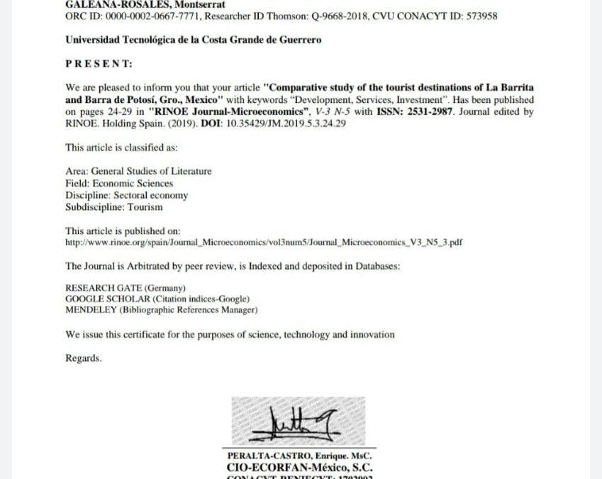 Cuerpo Académico de Innovación y Desarrollo Sustentable recibe certificado de participación