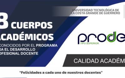 8 Cuerpos Académicos reconocidos ante PRODEP