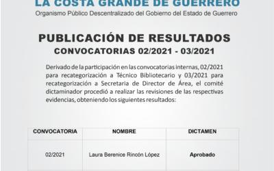 Resultados – Convocatorias 02/2021 y 03/2021