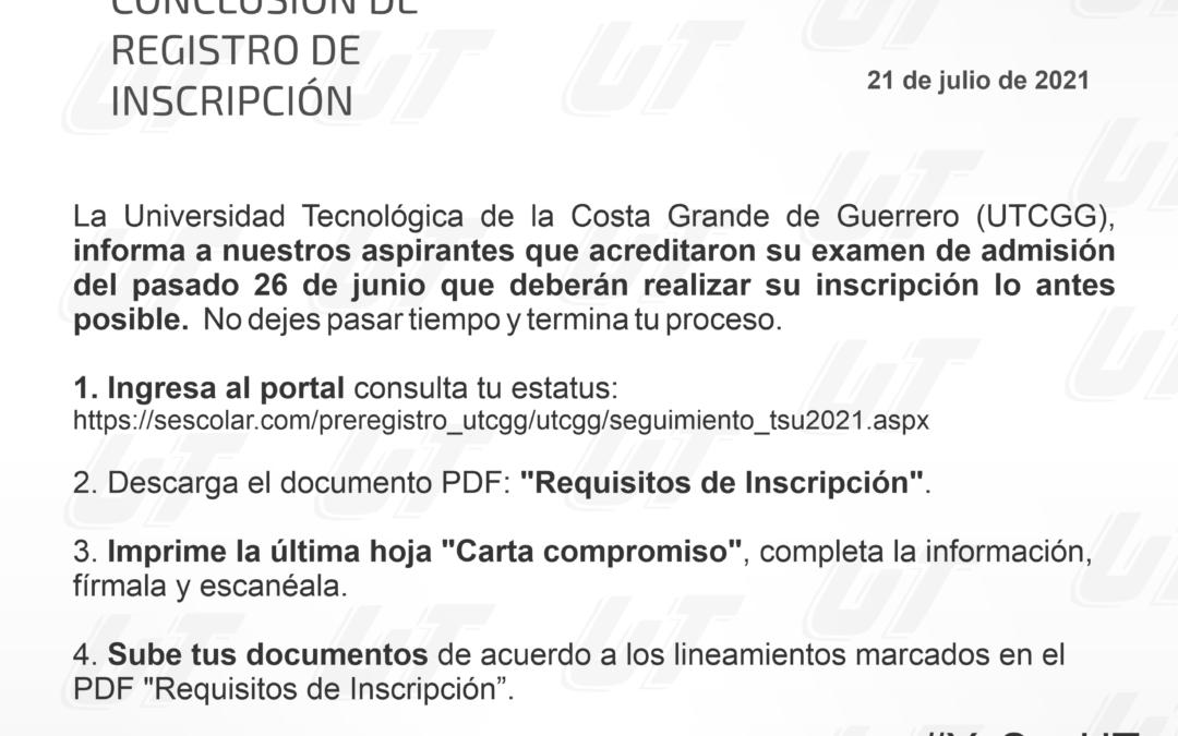 Conclusión de registro de inscripción